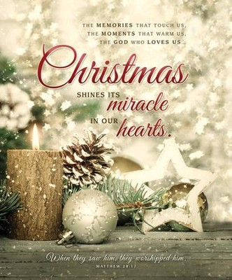 Christmas Shines Its Miracle (Matthew 28:17) Large Bulletins, 100  -