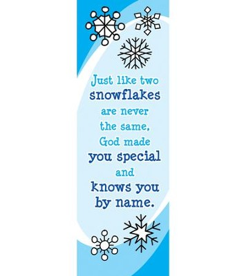 Just Like Two Snowflakes (Luke 2:14) Bookmarks, Pack of 25  -