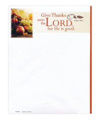 Give Thanks unto the Lord (Psalm 106:1, KJV) Letterhead, 100   -