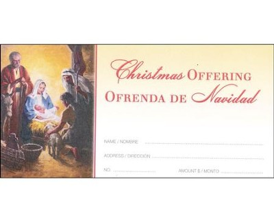 A Child is Born (Isaiah 9:6) Bilingual Offering Envelopes, 100  -