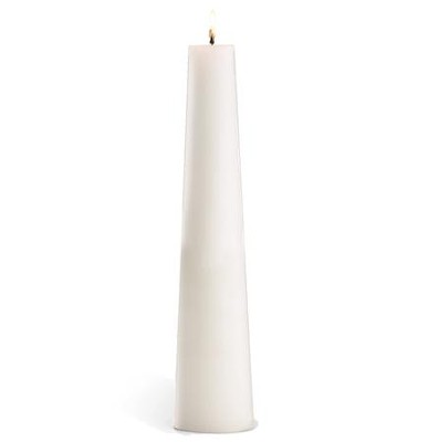 White Conical Candle, 3 x 14  -
