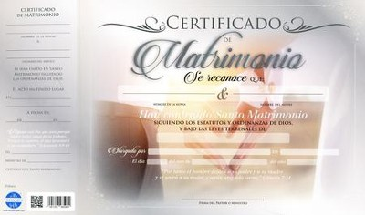Certificado de matrimonio, 20 pack (Certificate of Marriage)  -