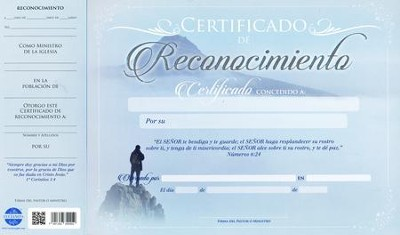 Certificado de Reconocimiento, 20 pack (Certificate of Appreciation)  -