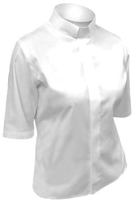 Women's Short-Sleeve Tab Collar Shirt: White-16  -