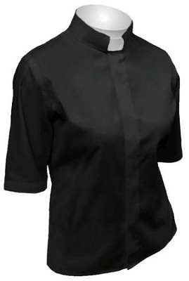 Women's Short-Sleeve Tab Collar Shirt: Black-1X  -
