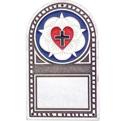 Pewter & Enamel Lutheran Seal Door Sign  -
