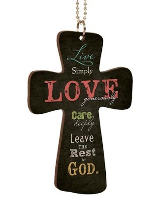 Live Simply Love Generously, Cross Car Charm  -