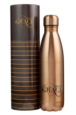 Saved by Grace, Stainless Steel Water Bottle, Gold  -