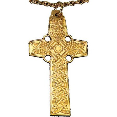 Gold Plated Celtic Cross, 2 1/4 inch  -