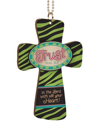Trust In the Lord, Cross Car Charm  -
