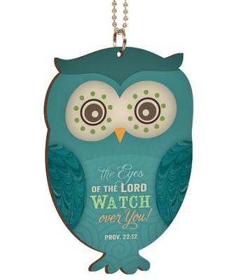 The Eyes Of the Lord Watch Over You, Owl Car Charm  -