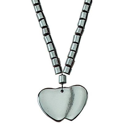 Beaded Hematite Hearts Pendant  -