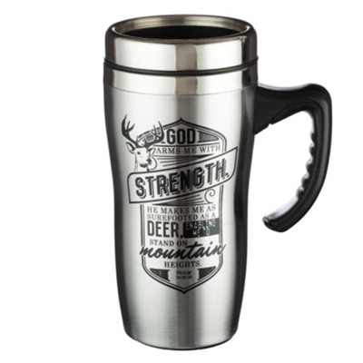 God Arms Me With Strength, Stainless Steel Travel Mug  -