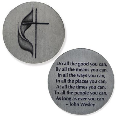 Cross and Flame John Wesley Quote Pocket Coin  -
