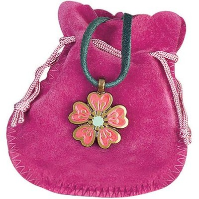 Pink Daisy Youth Pendant with Pink Pouch  -