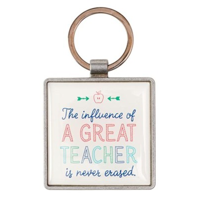 A Great Teacher Keyring in Tin  -