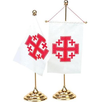 Jerusalem Cross Desk Flag  -