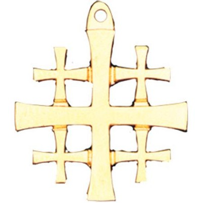 Gold Plated Jerusalem Cross Pendant with Chain  -