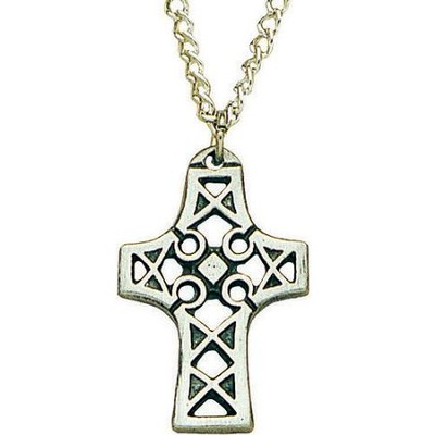 Celtic Pewter Cross Pendant with Cutouts   -
