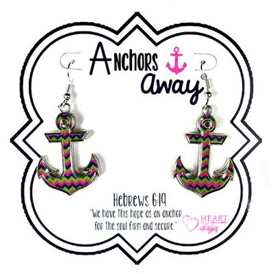 Anchor Hanging Earrings, Blue, Green, Pink  -