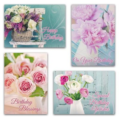 Fragrant Bouquets (NIV) Box of 12 Birthday Cards  -