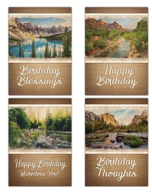 Majestic Wishes (NIV/NRSV) Box of 12 Birthday Cards  -