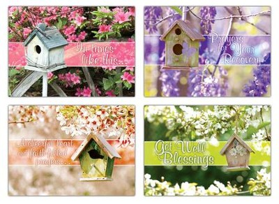 Birdhouse Blessings (KJV) Box of 12 Get Well Cards  -
