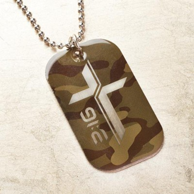 For God So Loved the World, Camo Dog Tag Pendant  -