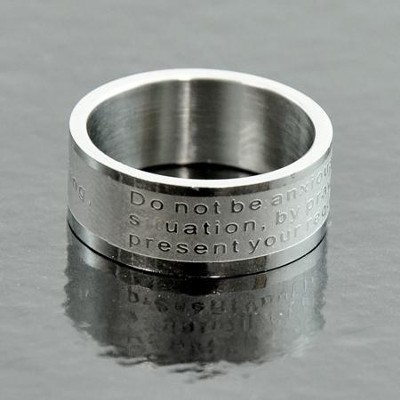 Do Not Be Anxious, Philippians 4:6 Band Ring, Size 6  -