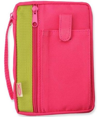 Canvas Compact Bible Cover, Fuchsia   -