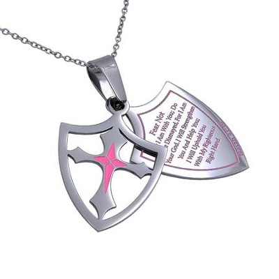 Fear Not, Shield Cross Necklace, Pink   -