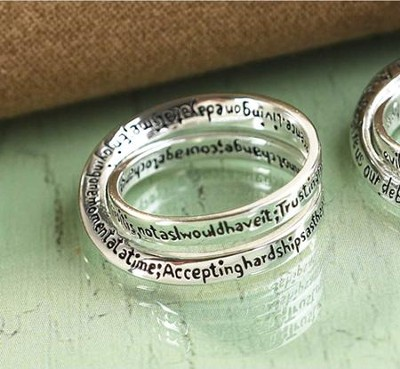 Serenity Prayer Double Mobius Ring, Size 6  -