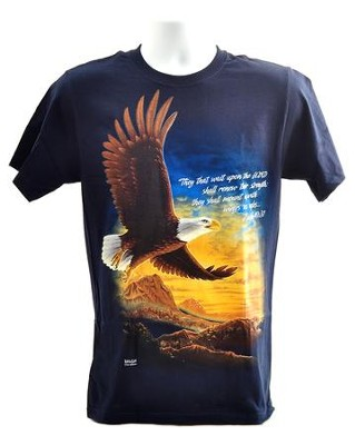 Eagle, They That Wait Upon the Lord, Shirt, Navy, XX-Large  -