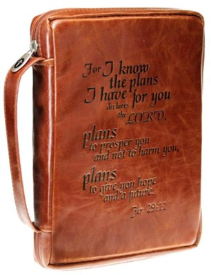 I Know the Plans Bible Cover, Jeremiah 29 11, Tan, Large  -