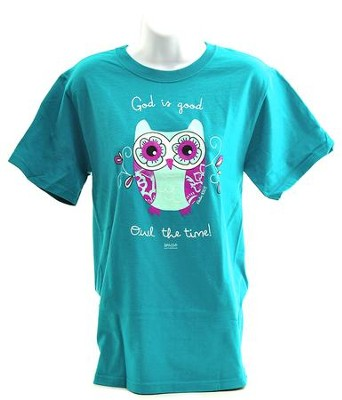 God Is Good, Owl the Time Shirt, Teal, Large  -