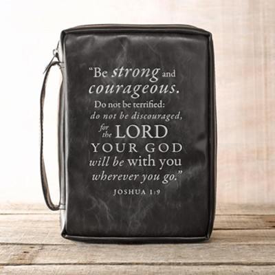 Be Strong and Courageous Bible Cover, Black, Medium  -