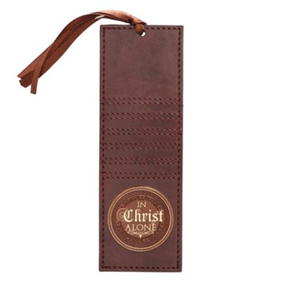 In Christ Alone Lux Leather Bookmark, Brown  -