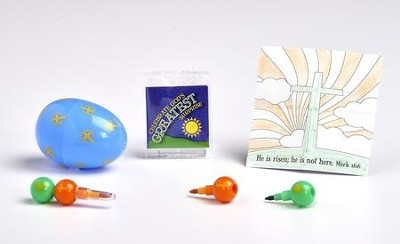 Decorative Plastic Egg, Mini-Stacking Crayons and Coloring Sheet  -