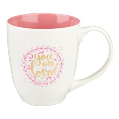 You Are Loved Mug, White and Pink    -