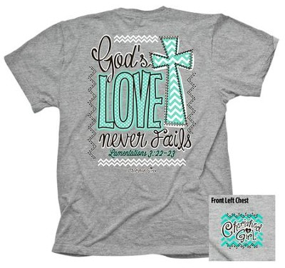 God's Love Never Fails Shirt, Gray, X-Large  -