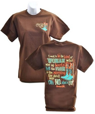 Oh No, She's Up Shirt, Brown, Large  -