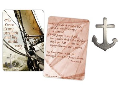 The Lord is My Strength and Shield Lapel Pin and Card  -