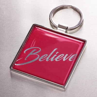 Believe Keyring, Red  -