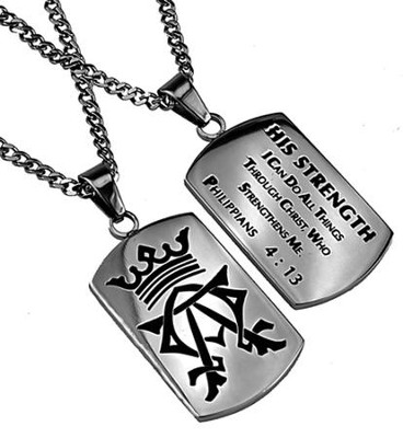 His Strength Alpha Omega Dog Tag  -