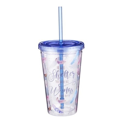 He Will Shelter You With His Wings Tumbler with Straw  -