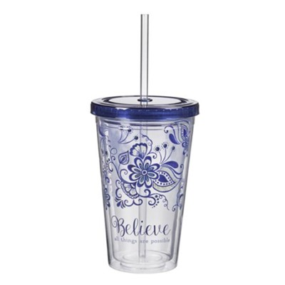 Believe All Things Are Possible Tumbler with Straw  -