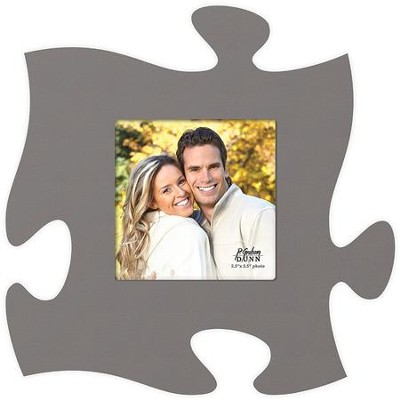 Puzzle Piece Photo Frame, Gray  -