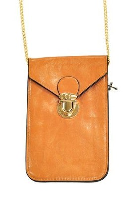 Crossbody Phone Case with Chain, Brown  -