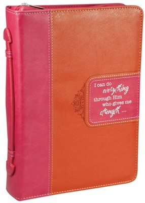 I Can Do All Things Bible Cover, Pink, Orange, Medium  -