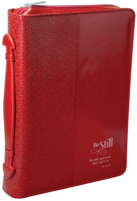 Be Still Bible Cover, Red, Medium  -